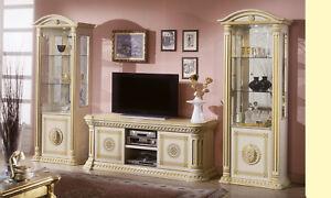 Wohnzimmer Komplett Set 2xvitrine Tv Lowboard Hochglanz Beige Gold