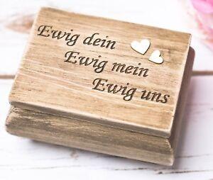 Hochzeit Ringkissen Holz Ring Box Mit Spruch Ebay