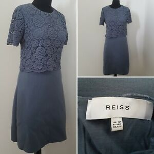 Ladies-REISS-Grey-Lacy-Dress-Sz-12-Wiggle-Pencil-Smart-Casual-Event-Special
