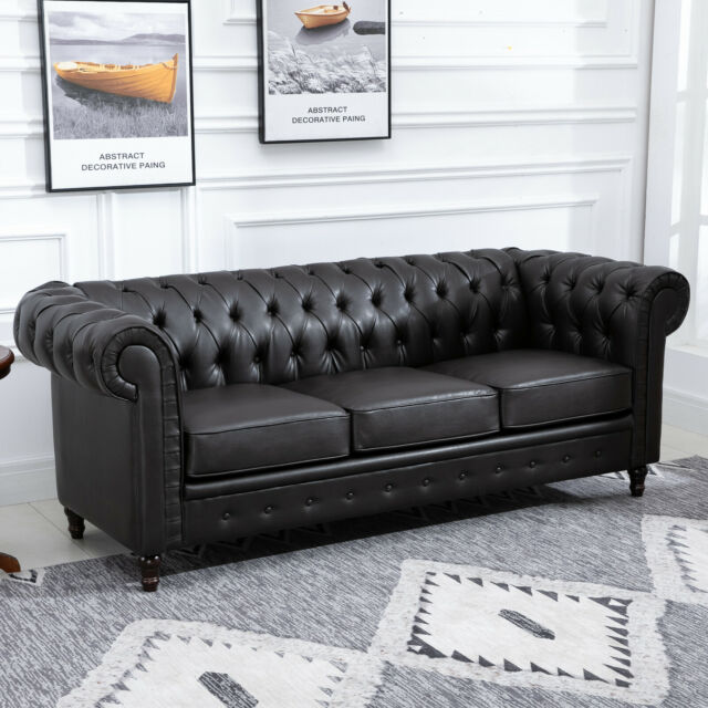 3 Seater Sofa Couch Modern Design Solid Wood Legs PU Leather Living Room