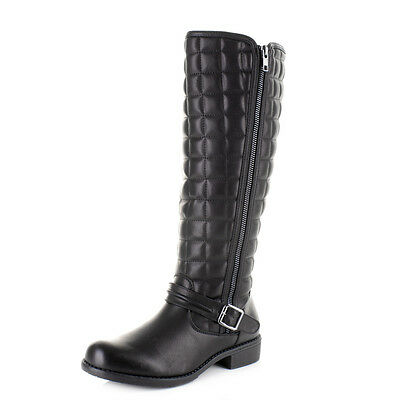 Womens Black Leather Style Biker Quilt Knee High Flat Casual Boots Size
