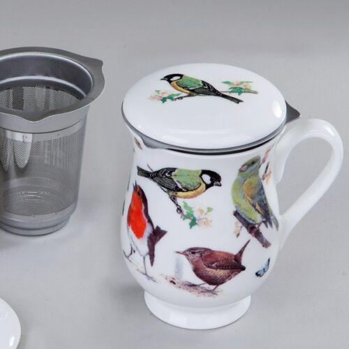 Garden Birds Motiv 2 Roy Kirkham Teetasse mit Sieb und Deckel Fine Bone China