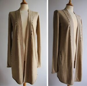 WRAP-Cotton-Wool-Alpaca-Long-Cardigan-with-Pockets-Thin-Knit-UK-Size-10