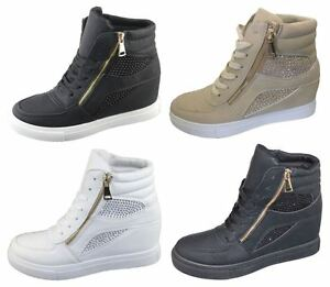 Womens-Girls-Diamante-Wedge-Heel-Ankle-High-Top-Trainers-Sneakers-Boots-Shoes