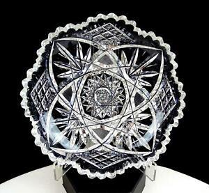 ABP-AMERICAN-BRILLIANT-PERIOD-CUT-CRYSTAL-HOBSTAR-DIAMOND-6-5-034-TRINKET-DISH-1890