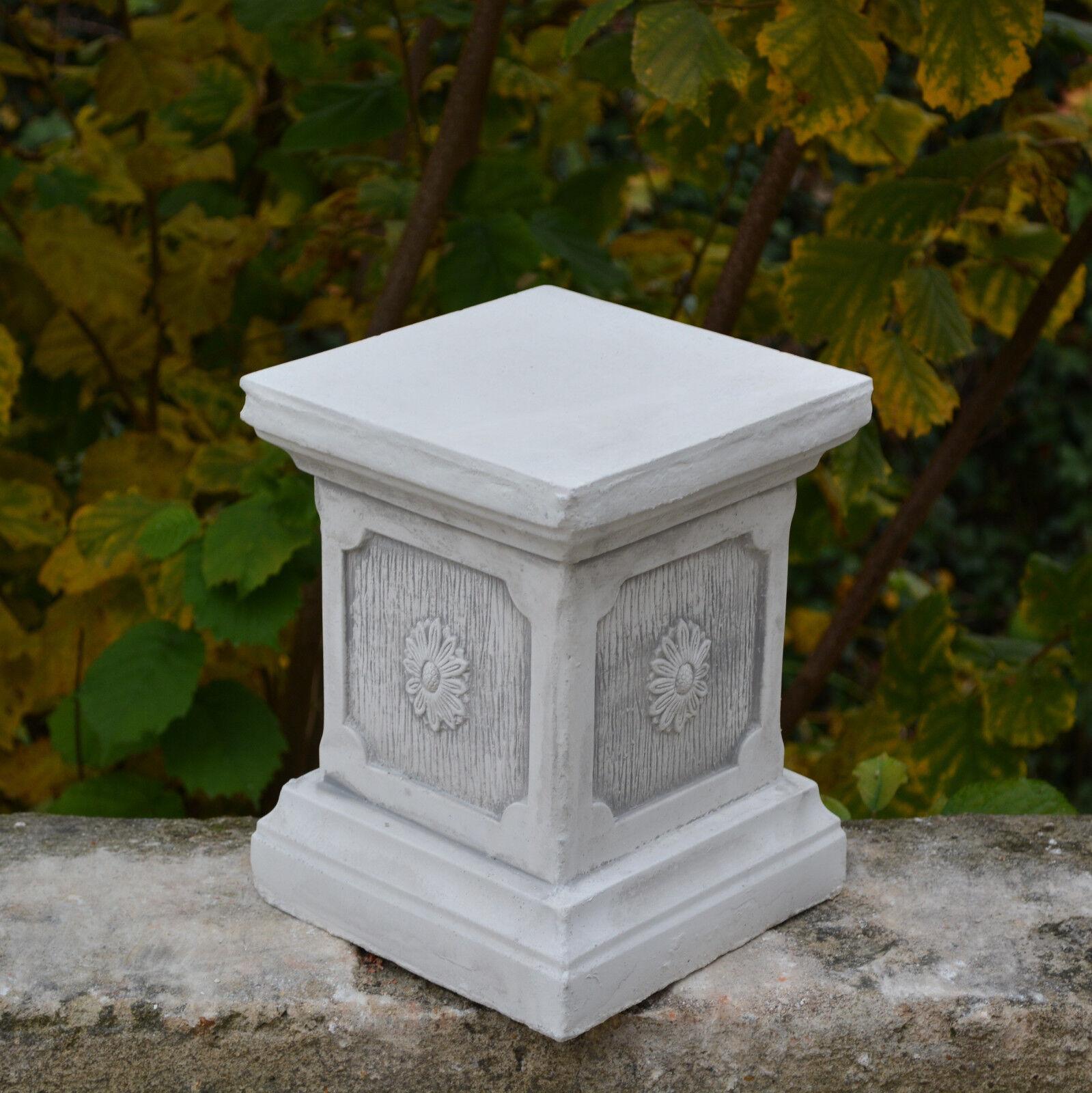 Masiva Zócalo Podios Columna Estatua Motivo Flores Decoración de Jardín Hormigón