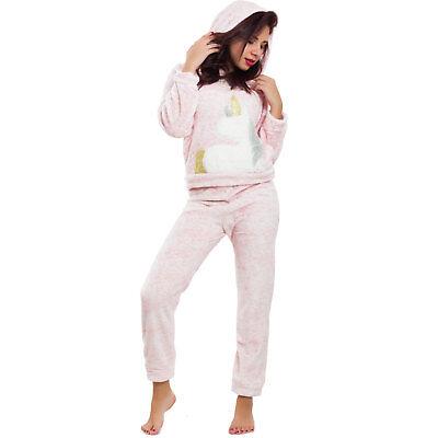Pigiama donna intimo caldo invernale pantaloni maglia UNICORNO cappuccio BE-9153