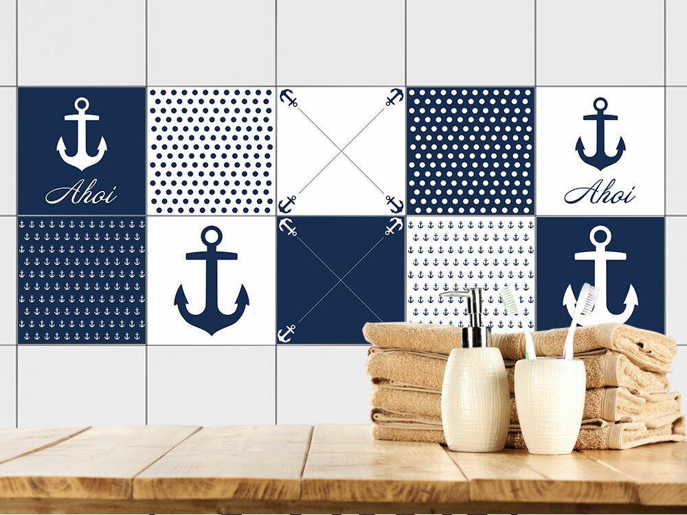 Fliesenaufkleber maritim Fliesen zum Aufkleben Bad & Küche Anker Ahoi blau weiß