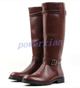 new mens buckle pu leather knee high