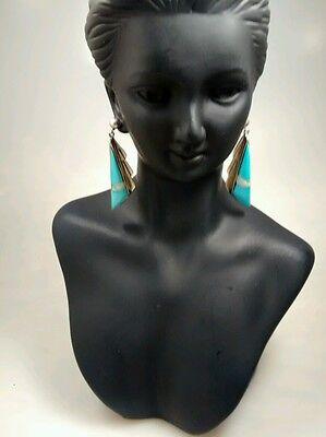 Stunning vtg  Native American Zuni lanel  turquoise  sterling  pierce  earrings