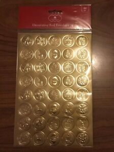 Gold Christmas Decorative Foil Envelope Seals 80 Stickers on 2 Sheets NEW