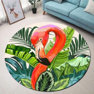Watercolor Tropical Leaves Flamingo Area Rug Custom Multifunctional Floor Rugs