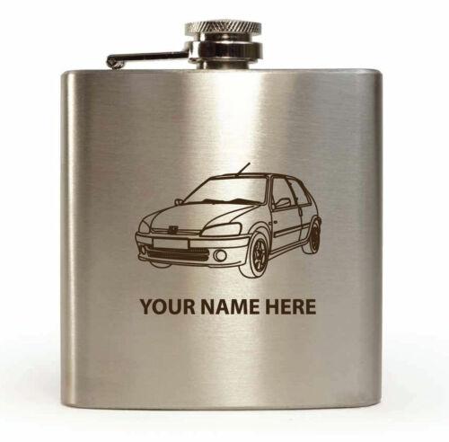 6oz Stainless Steel 106 Car Sketch Design Personalised Hip Flask