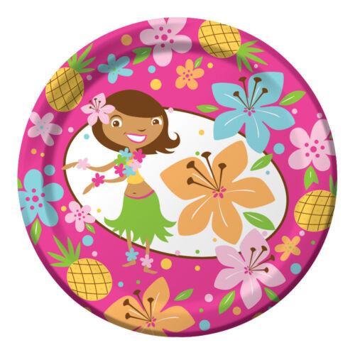 8 X Hawaiano Fiesta Rosa Chica Hula Pequeño Barato Papel Fiesta almuerzo tipo bufé Platos
