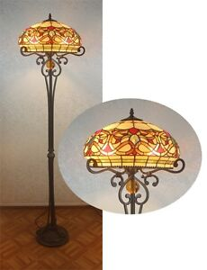 HANDCRAFTED-BEAUTIFUL-TIFFANY-STYLE-STAINED-GLASS-FLOOR-LAMP