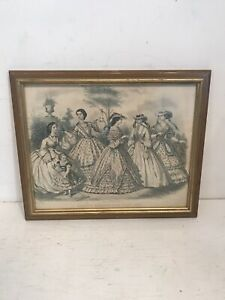 1862-Godey-039-s-Fashion-Hand-Colored-Plate-Etching-Capewell-amp-Kimmel-July-Framed