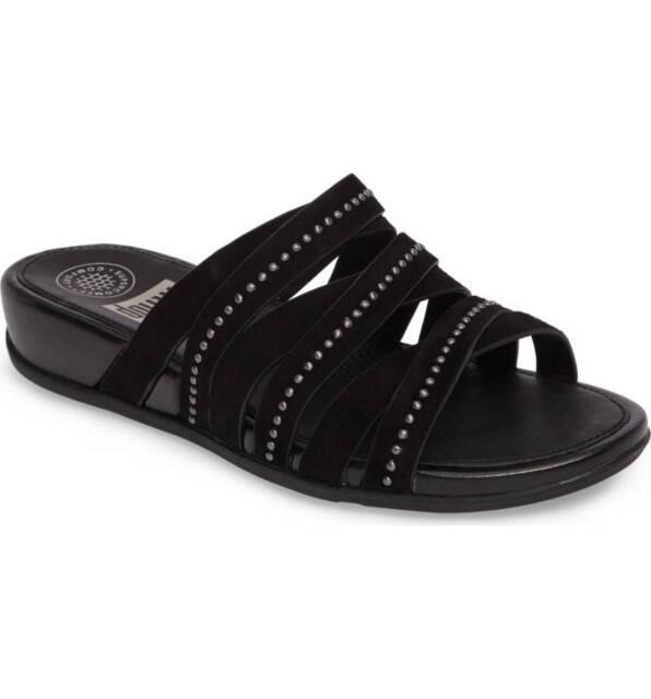 881c793e89f FitFlop Lumy Wedge Slide Sandals Black Suede Medium Comfort 8 EU 39 ...