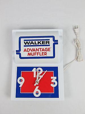 Vintage WALKER ADVANTAGE MUFFLER Sign Clock by Benchmarc Display NOS Auto Sign