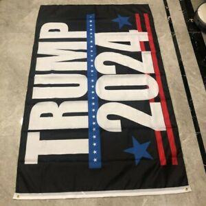 Donald Trump 2024 Bandera de Poliéster Azul con cargas de anillos de latón 3x5 FT