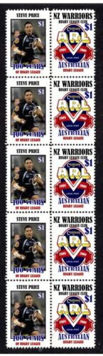 CENTENARY OF RUGBY STRIP OF 10 MINT VIGNETTE STAMPS, NZ WARRIORS, STEVE PRICE