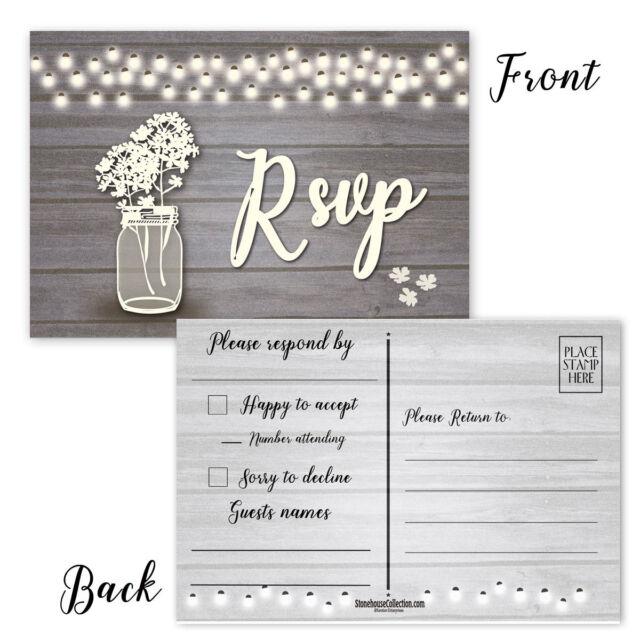 Wedding RSVP Reply Postcards - 50 Wedding & Party Reply Postcards -B17003