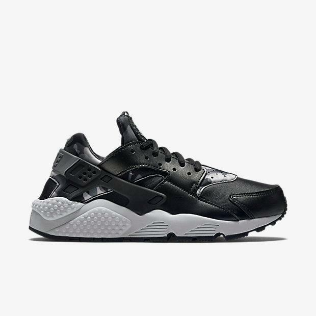WMNS AIR HUARACHE RUN PRINT CAMO 725076 003 BLACK/COOL GREY - LEATHER/NEOPRENE
