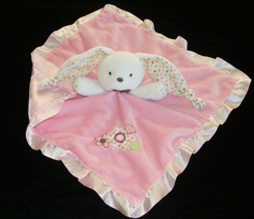 Just One Year Pink White Bunny Security Blanket Dots Knots Ears Flowers Carters