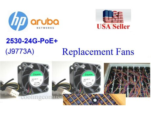Pack of 2x new replacement fans for Aruba HP 2530-24G-PoE+ J9773A Switches