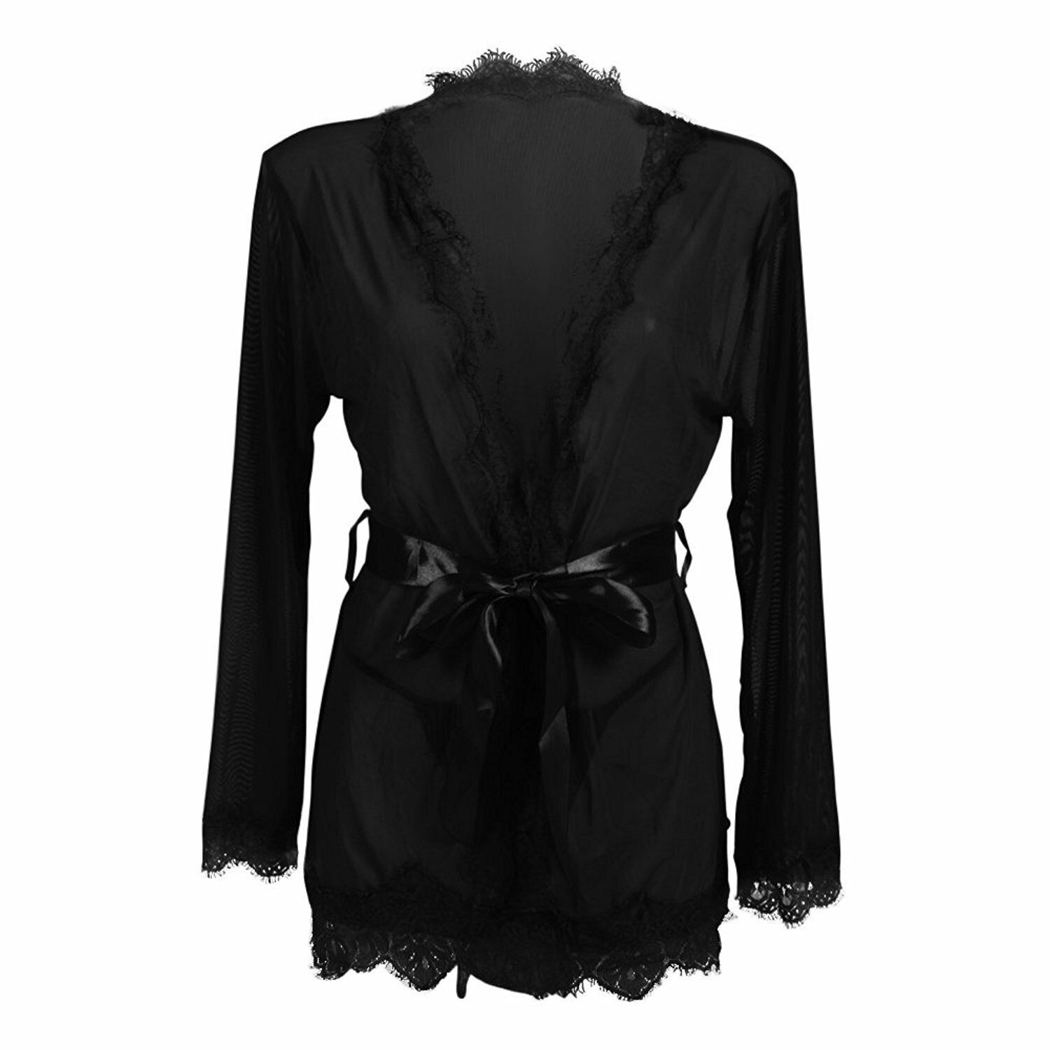 Printed Cherry Stretch SILK Satin and Black Lace Lace Robe Elbow Lace Sleeve Women/'s Dressing Gown Kimono Robe Female Hand Robot