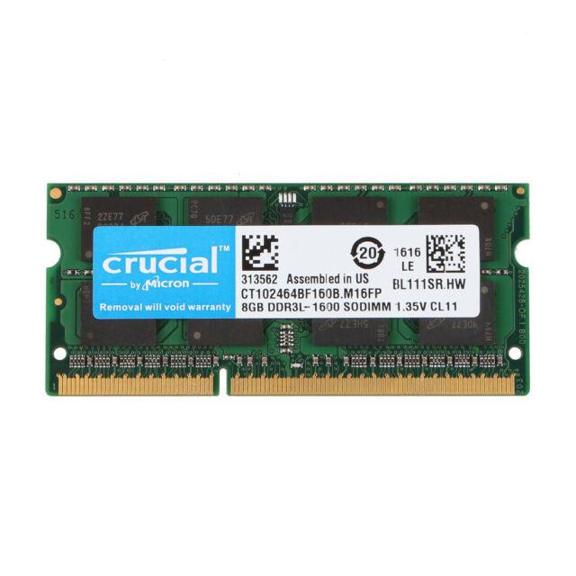 crucial 16GB KIT 2X8GB 12800S PC3L-1600Mhz 1.35V CL11 SO-DIMM Laptop Memory RAM