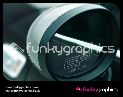 MINI JOHN COOPER WORKS GP NUMBERED LOGO MIRROR DECALS GRAPHICS x3 IN SILVER ETCH