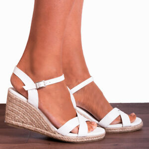 WHITE WEDGED CANVAS WEDGES CRISS CROSS