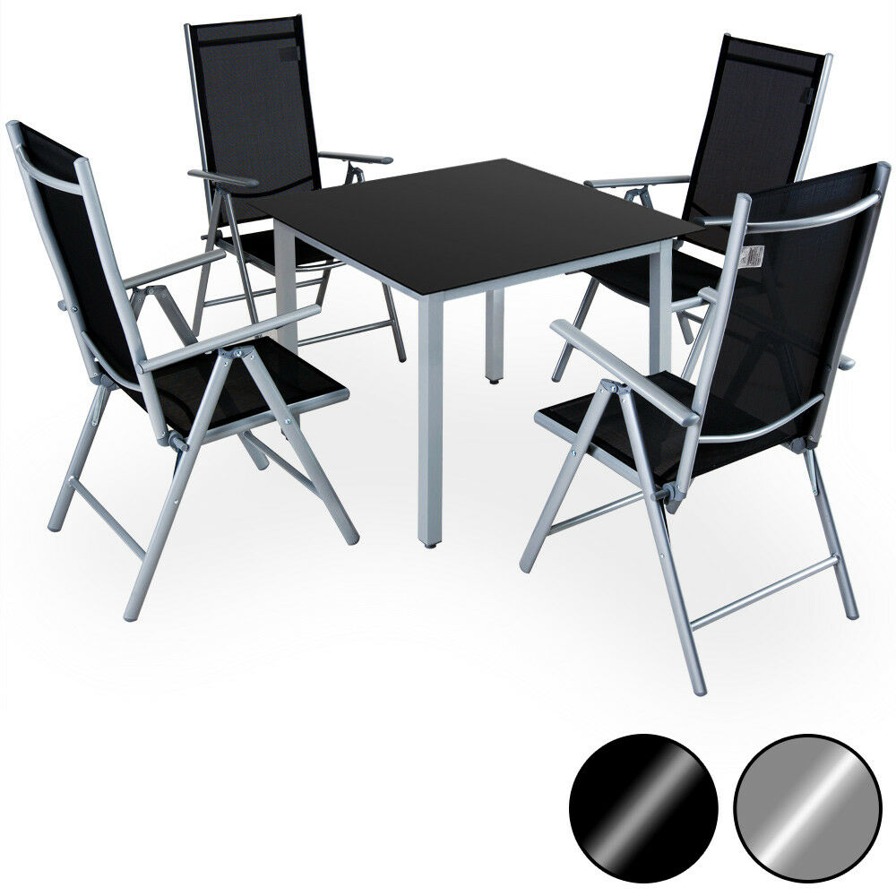 Salon chaises 4 et table Ensemble Silber Anthracite ...