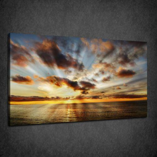 STUNNING BEAUTIFUL HEAVENLY SUNSET SEA BOX CANVAS PRINT WALL ART PICTURE