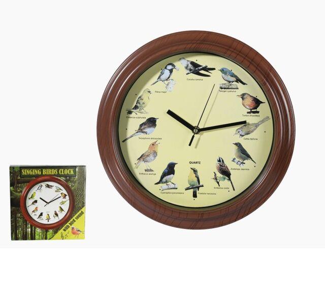 Vogelstimmen Wanduhr Uhr 33 cm Tier Stimmen 12 Stimmen jede Stunde neuer Sound