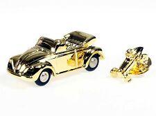 """Schuco Piccolo VW Käfer Cabrio gold + Pin """"Weihnachten 2012"""" # 450140400"""