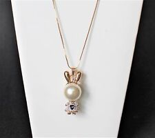 "Fashion 31"" long necklace w/ large 3D cute pearl rabbit girl rhinestone pendant"