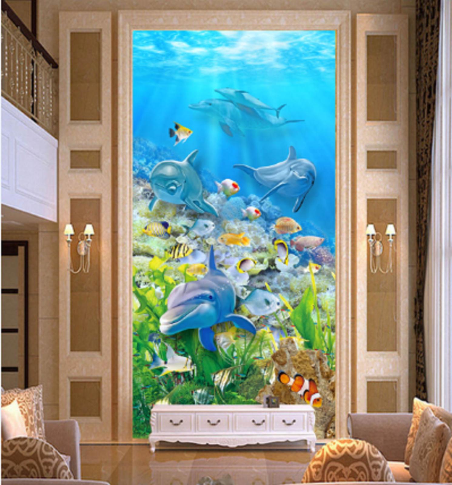 3D Dolphins Corals 78  Wall Paper Murals Wall Print Wall Wallpaper Mural AU Kyra