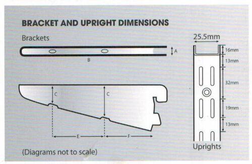 Brackets /& Bookend Single /& Bulk Pack Twin Slot Shelving System Silver Uprights