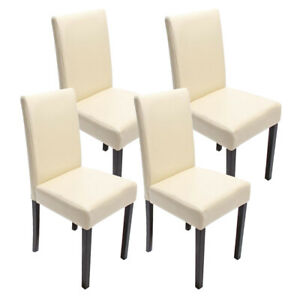 Set 4x sedie Littau ecopelle per sala da pranzo avorio piedi scuri