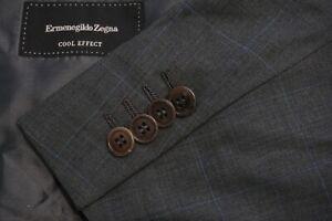 Ermenegildo Zegna Cool Effect Gray Blue Windowpane Wool 2 Pc Suit Sz 44R