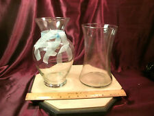 """2 large unique clear vases-hurricane style - 8.75""""H & 8""""H - free ship"""