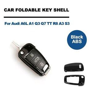 Schwarz-ABS-Schluessel-Gehaeuse-Autoschluessel-Huelle-Fuer-Audi-A6L-A1-Q3-Q7-TT-R8-A3
