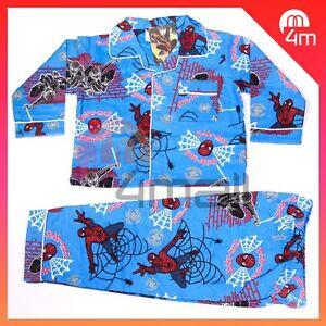 Boys Kids Spiderman Long Sleeve Flannelette Winter PJ Pyjamas Slepwear Sz