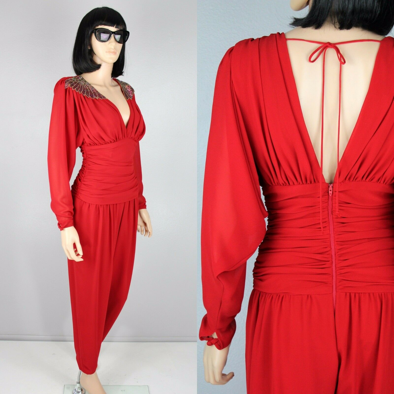Casadei Red Pants Cocktail Party Jumpsuit Disco Romper Harem Beaded ...