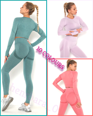 Women Seamless Gym Yoga Set Leggings Pants Long Sleeve Crop Top Sport Fitness Uk Ebay