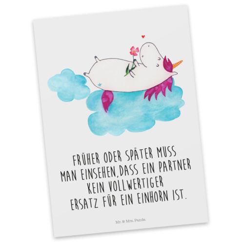 Postkarte Einladungskart... Postkarten Postkarte Einhorn verliebt auf Wolke