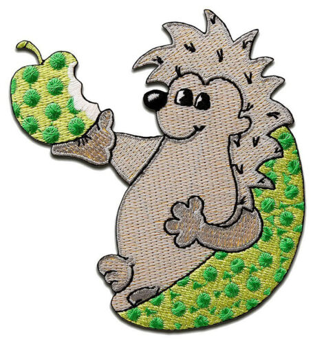 Hedgehog Animal Children Gray /& Green Patch Badge Iron Or Sew On 7.9cm x 8cm