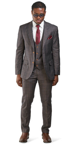 Slim Fit 2 Button Bronze Brown Windowpane Mens Suit 3 Piece Vested 35071 AZARMAN