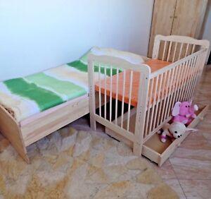Betten Beistellbett Babybett Komplett Set Gitterbett Kinderbett 2 In1 Massivholz StraßEnpreis Beistellbetten